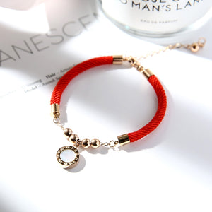 YUN RUO Double Sides Roman Red Line Bracelet Fashion Elegant Woman Girl Gift Rose Gold Color Titanium Steel Jewelry Never Fade
