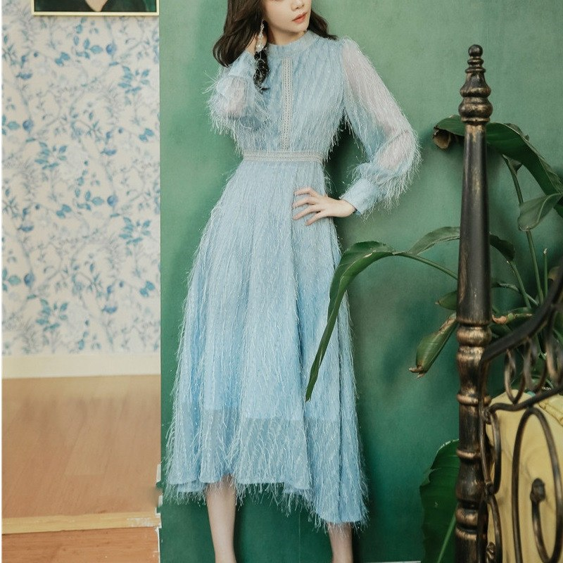 limiguyue high quality women tassel dress long sleeve sky blue feather stand collar party dress designer brand runway dress T317