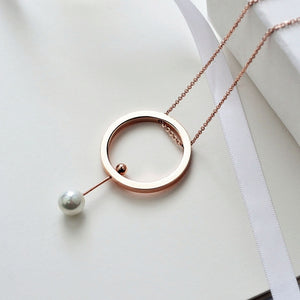 YUN RUO Brand Jewelry Rose Gold Triangle Round Pearl Necklace 72 CM Fashion 316 L Stainless Steel Jewelry for Woman Never Fade