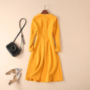 Winter Christmas Women Yellow  Party Dresses Runway Designer Leaves Sequins 2018 Autumn Winter Ladies Long Dreses Clothing
