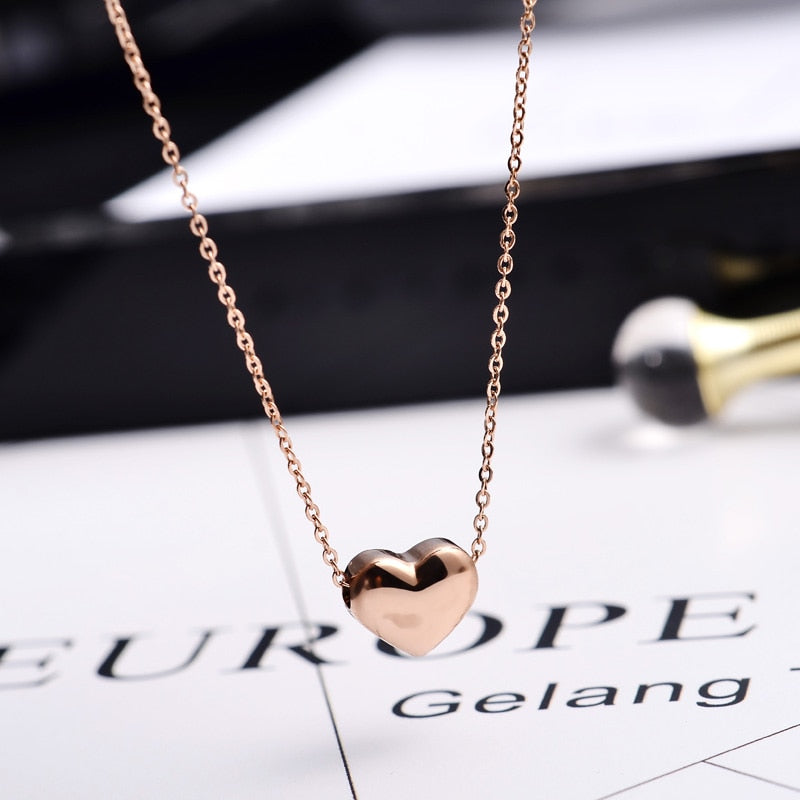 YUN RUO Fashion Brand Woman Jewelry Rose Gold Color Smooth Heart Necklace Simply Choker Chain 316 L Stainless Steel Jewelry
