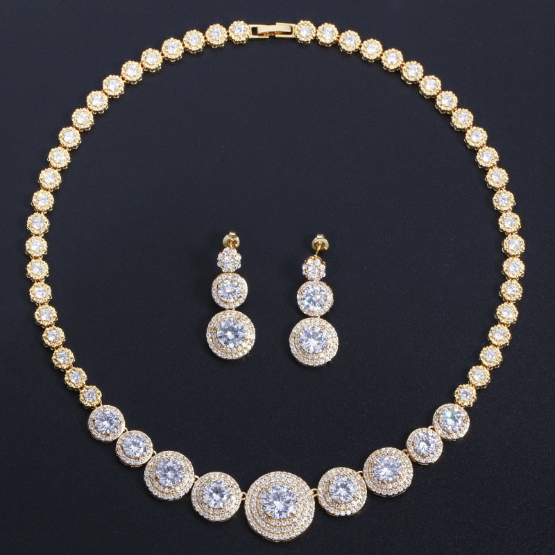 CWWZircons Gorgeous African Cubic Zirconia Luxury Dubai Arab Gold Color Filled Wedding Necklace Earrings Jewelry Sets T319