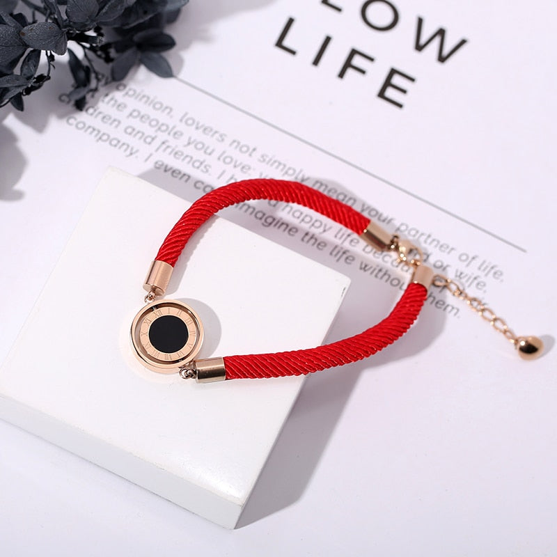 YUN RUO Double Sides Lucky Red Line Bracelet Fashion Elegant Woman Girl Gift Rose Gold Color Titanium Steel Jewelry Never Fade