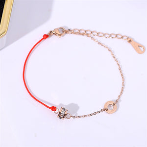 2018 Lucky Redline Zircon Crystal Bracelet Fashion Elegant Woman Gift Rose Gold Color