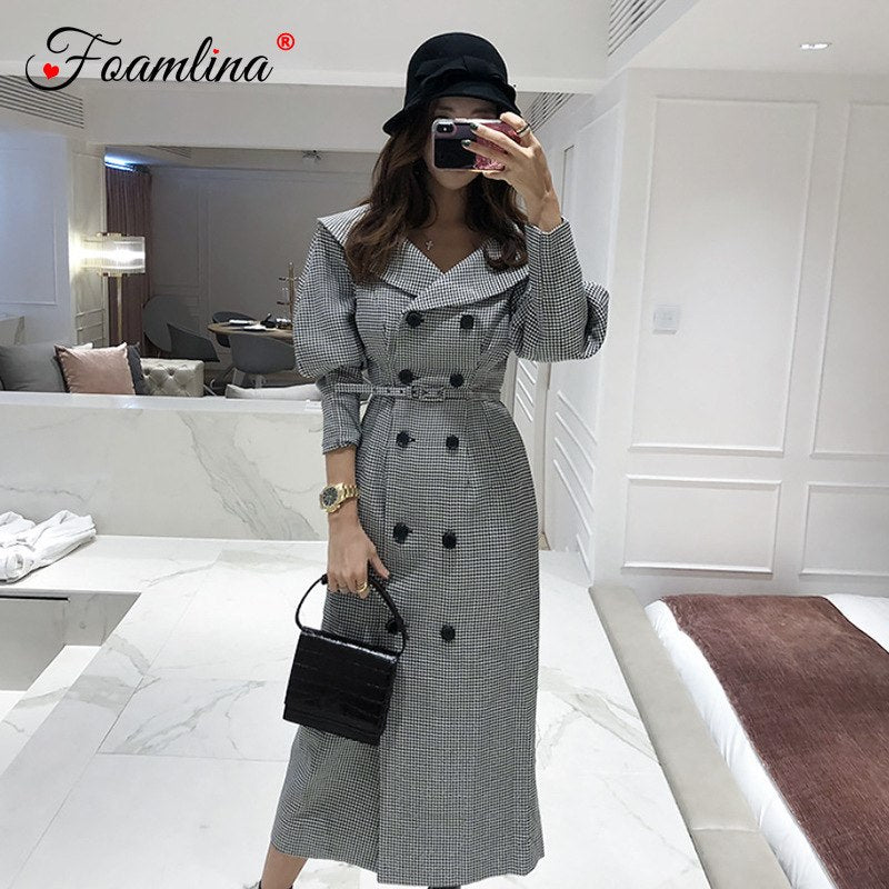 Foamlina Retro Plaid Print Trench Dress Women 2018 Autumn Winter Turn-down Collar Double Breated Belted Vintage Work Midi Dress