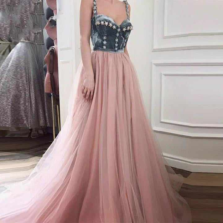 Long Abendkleider Pink Women Tulle Evening Dresses 2018