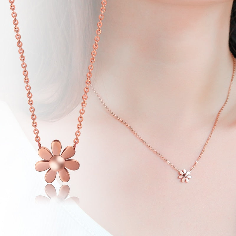 YUN RUO Fashion Brand Woman Jewelry Gold Silver Color Daisy Pendant Necklace 316 L Stainless Steel Collares Jewelry High Polish