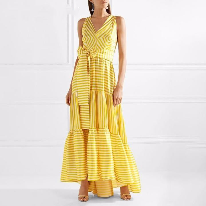 Striped Bohemian Maxi Dresses Women Sleeveless Deep V Neck Lace up Sexy Dress Female