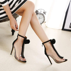Summer Woman pumps foreign trade sexy fashion Plush zipper decoration Cinderella transparent glass with high heels Peep Toe
