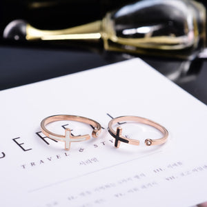YUN RUO 2017 Rose Gold Colors AAA Zirconia Cross Finger Ring for Woman Girl Gift Wedding Jewelry 316L Stainless Steel Never Fade
