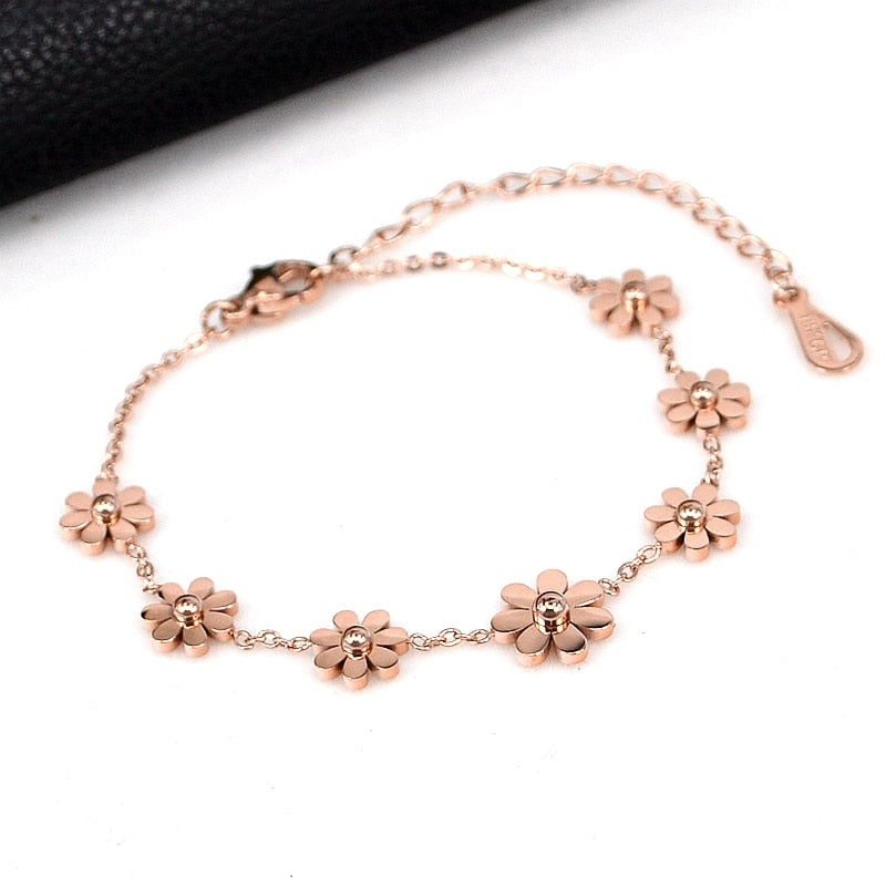 YUN RUO Fashion Brand Rose Gold Color Daisy Flower Bracelet Charms 316L Stainless Steel Jewelry Woman Chain Link Prevent Fade