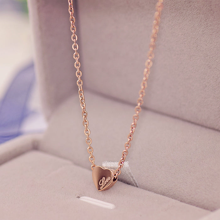 YUN RUO Fashion Brand Woman Jewelry Rose Gold Color Cute Mini Heart Pendant Necklace 316 L Stainless Steel Bijoux Femme Gift
