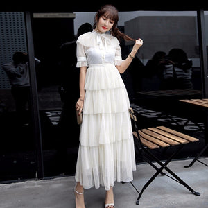 Summer Layers Mesh Dresses Women Short Sleeve Ruffle Lace Dot Maxi Party Dress Female