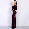 2018 Women Sexy Off Shoulder Speaker Sleeve Female Dresses Velvet Solid Color Bodycon