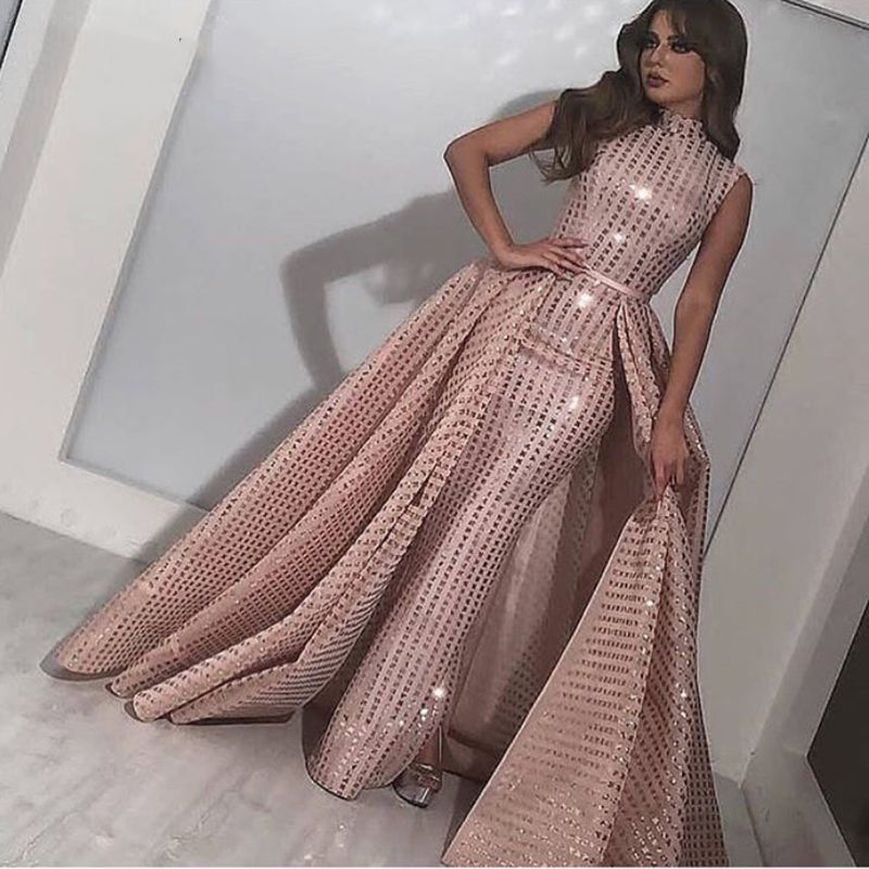 Long Pale Pink High Neck Shiny Abendkleider Saudi Arabic Women Evening Dresses 2018