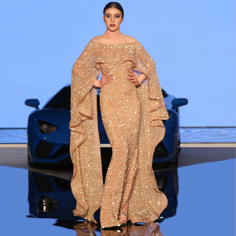 Long Mermaid Glitter Abendkleider Saudi Arabic Women Evening Dresses 2018 with Caftan Abiye kleider damen lang