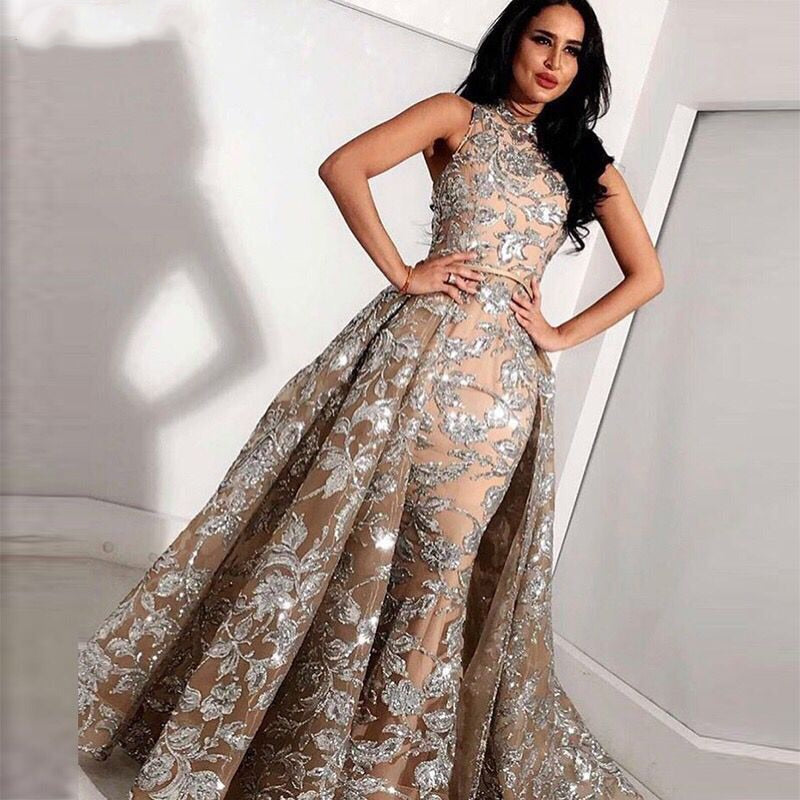 Long Grey Champagne Lace Mermaid High Neck Arabic Evening Dress 2018 kaftan Dubai Formal