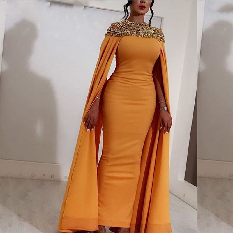 Long Yellow Satin High Neck Crystals Abendkleider Saudi Arabic Women Evening Dresses 2018