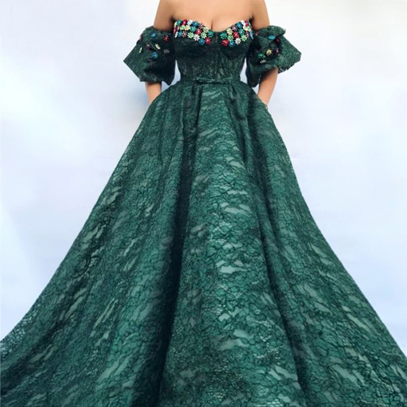 Long Green Ball Gown Lace Abendkleider Lebanon Saudi Arabic Women Evening Dresses 2018