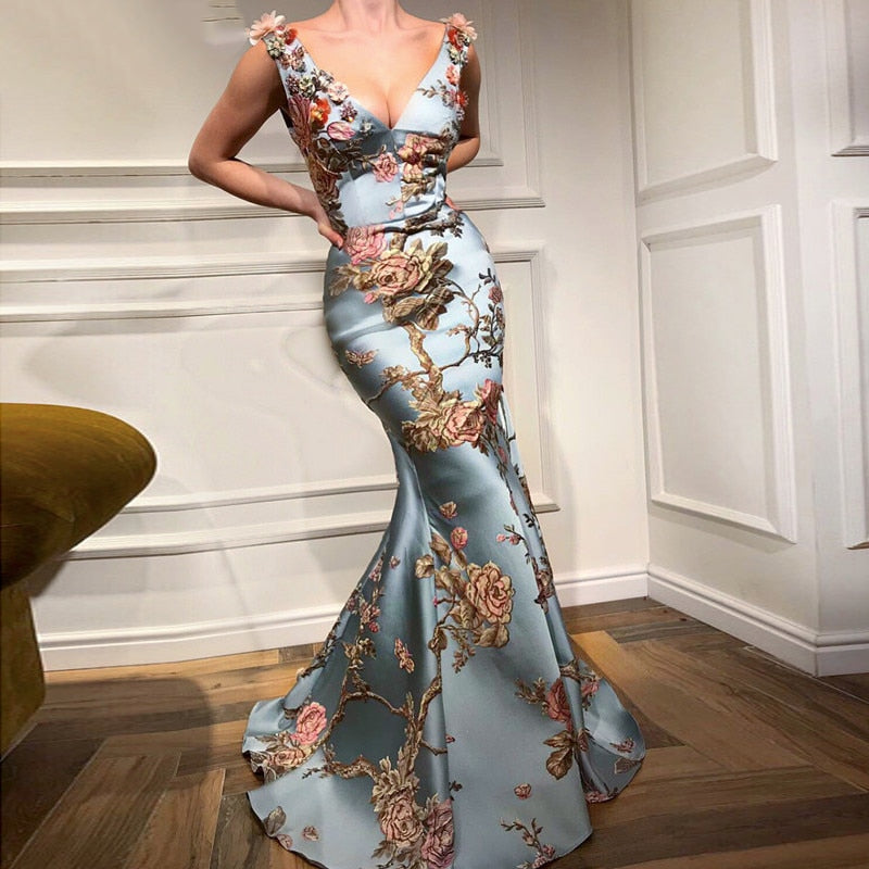 Long Elegant Abendkleider Dubai Mermaid V-neck Evening Dress 2018 Printed Flowers Prom Dress Vestido Largo Noche