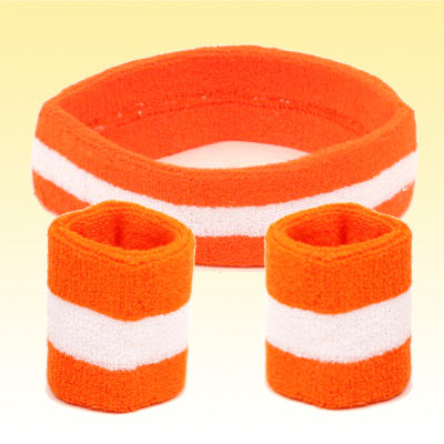 Flint Tropics Orange & White Striped Headband & Wristbands