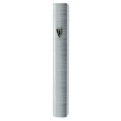 Aluminum Mezuzah 12Cm - 3D Metal Painted - Bright White Stripes