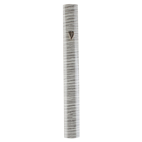 Aluminum Mezuzah 15Cm - 3D Painted Gray Stripes