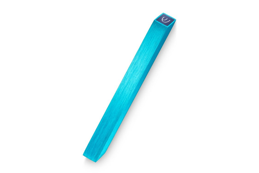 Angle Mezuzah Turquoise with Blue