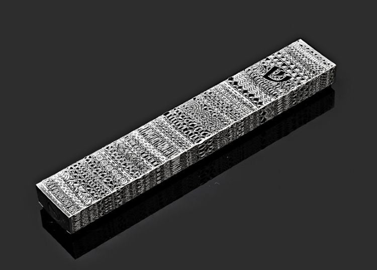 Ribbon Lace Black Background Mezuzah