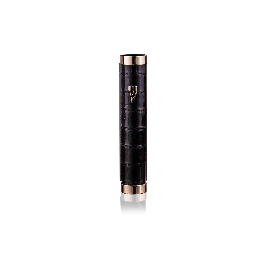 Mezuzah Tzfat Crocodile Deep Black
