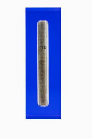 The Lucite Mezuzah Medium Blue