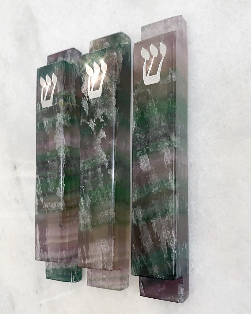 Green and Purple Large Fluorite Stone Mezuzah Silver Shin