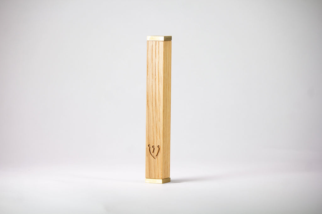 Solid Oak Mezuzah + Brass Caps