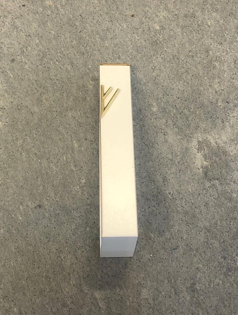 White Geometric Mezuzah Gold Shin