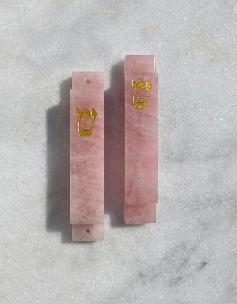 Carved Pink Quartz Stone with Gold Shin Mezuzah