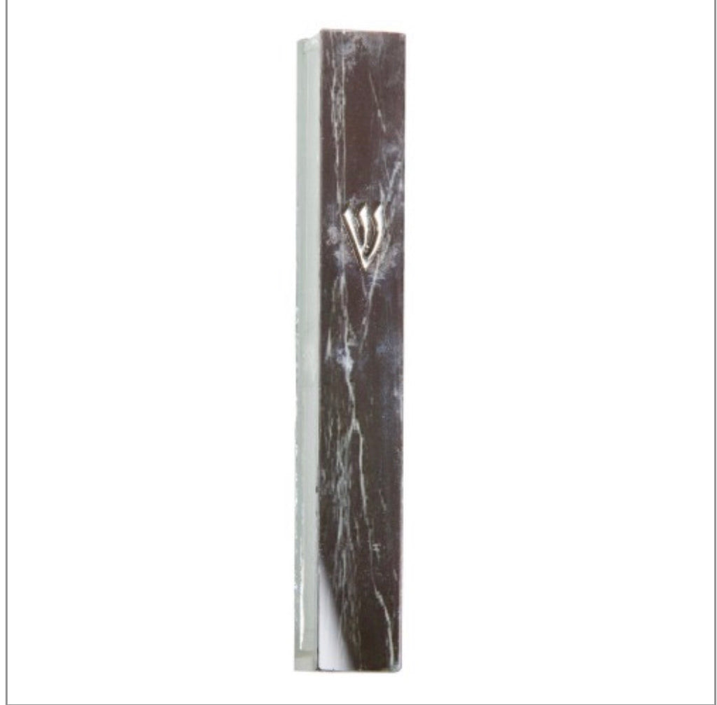 Black Marble Look Glass Mezuzah
