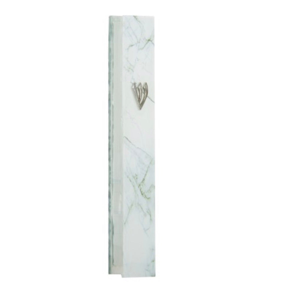 White Marble Look Glass Mezuzah