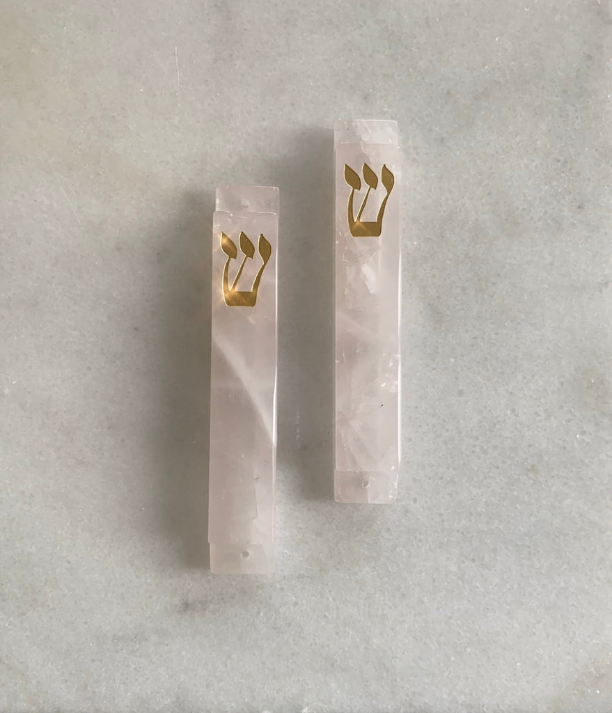 Carved Pink Quartz Stone with Gold Shin Mezuzah - LARGE