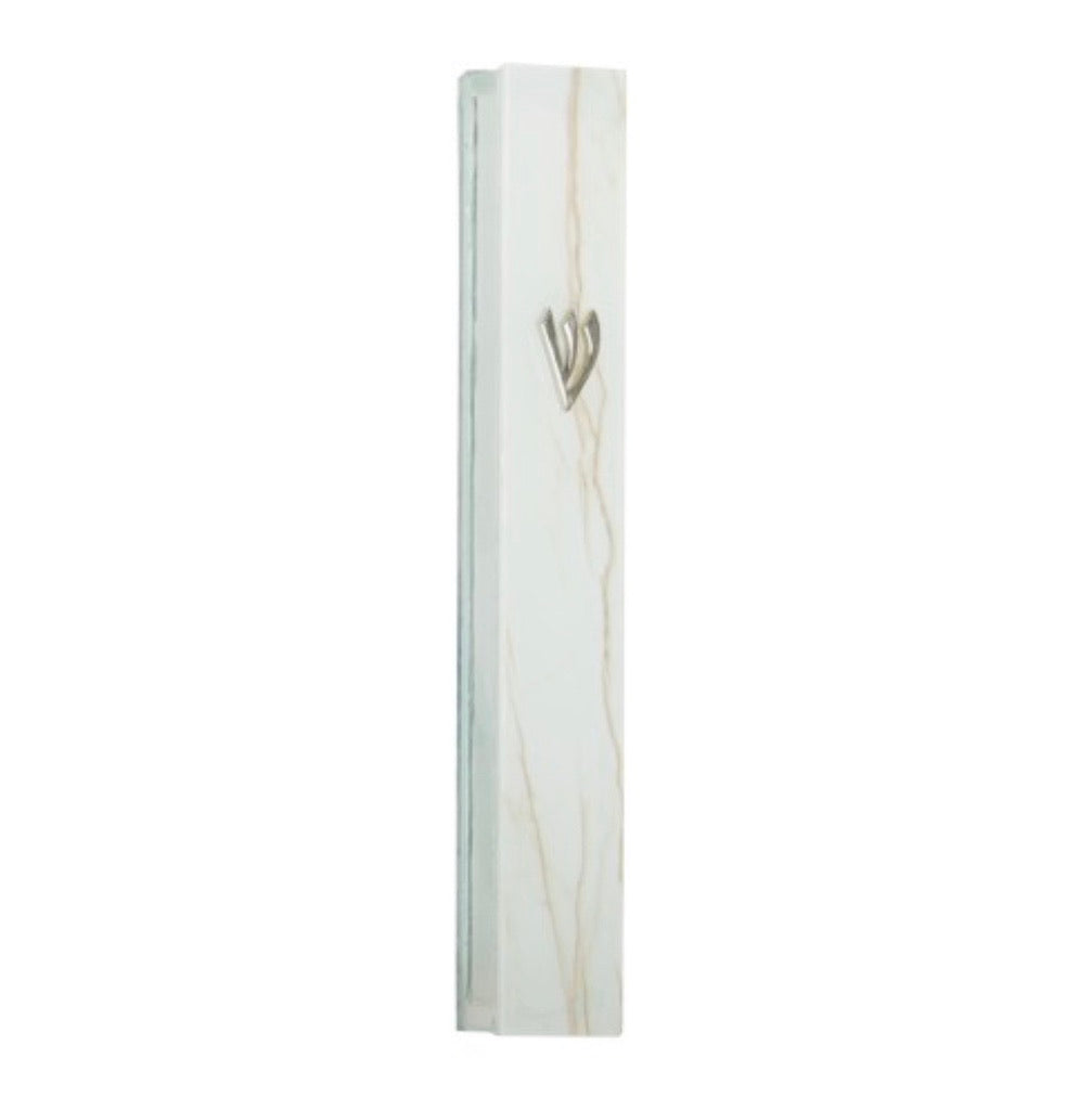 Beige Marble Look Glass Mezuzah