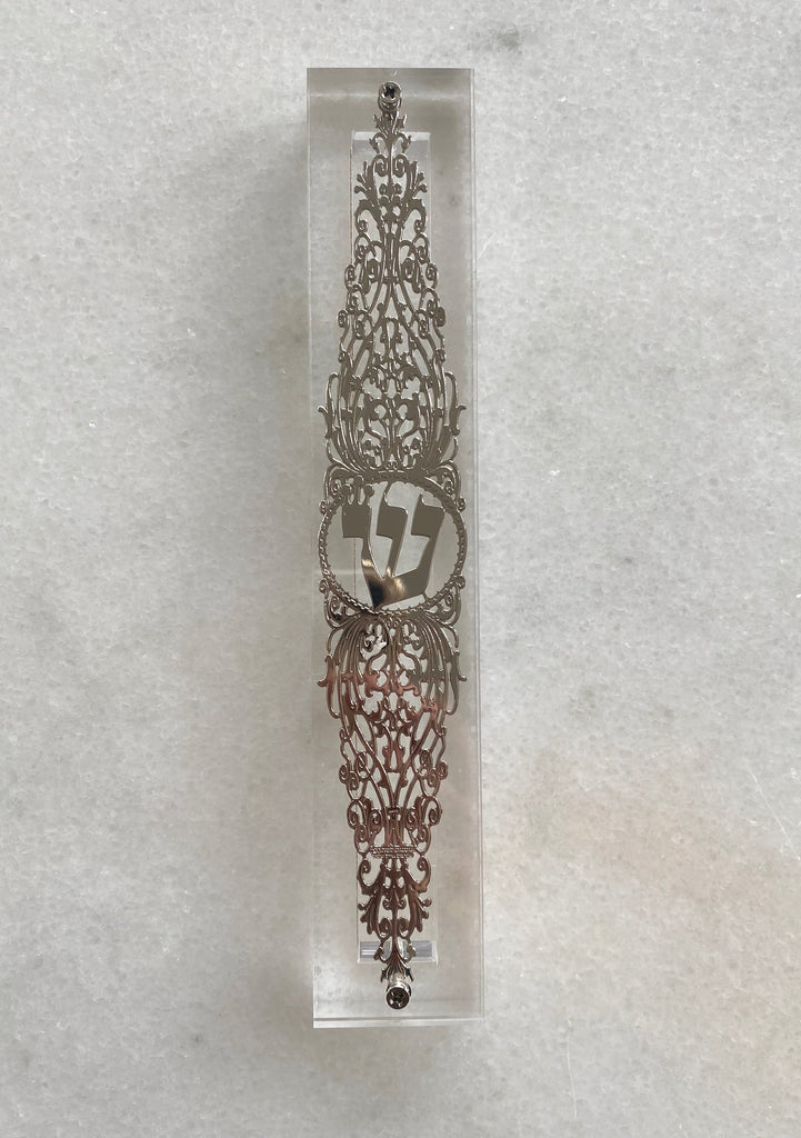 Acrylic 24K Silver Plated Mezuzah Ornate