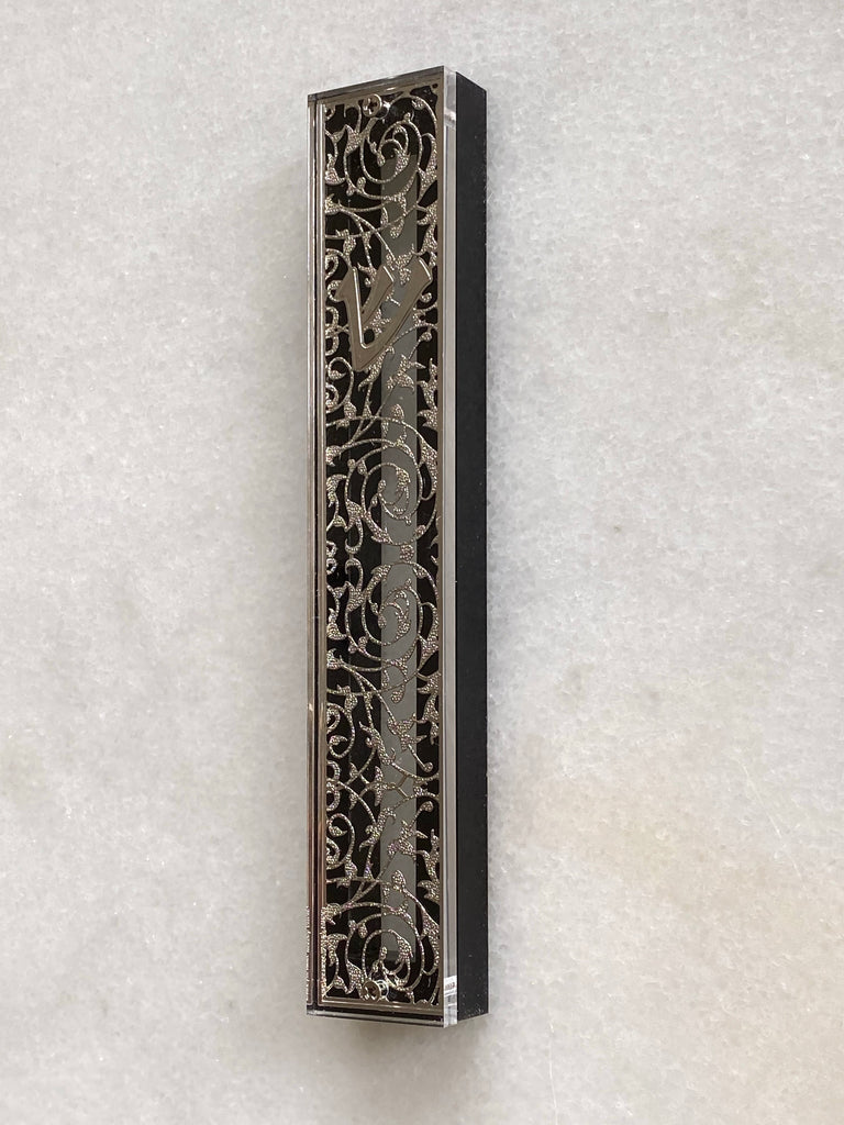 Acrylic & Black 24K Silver Plated Mezuzah Intricate