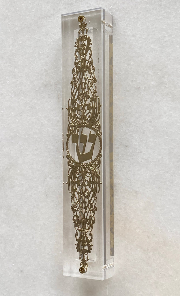 Acrylic 24K Gold Plated Mezuzah Ornate