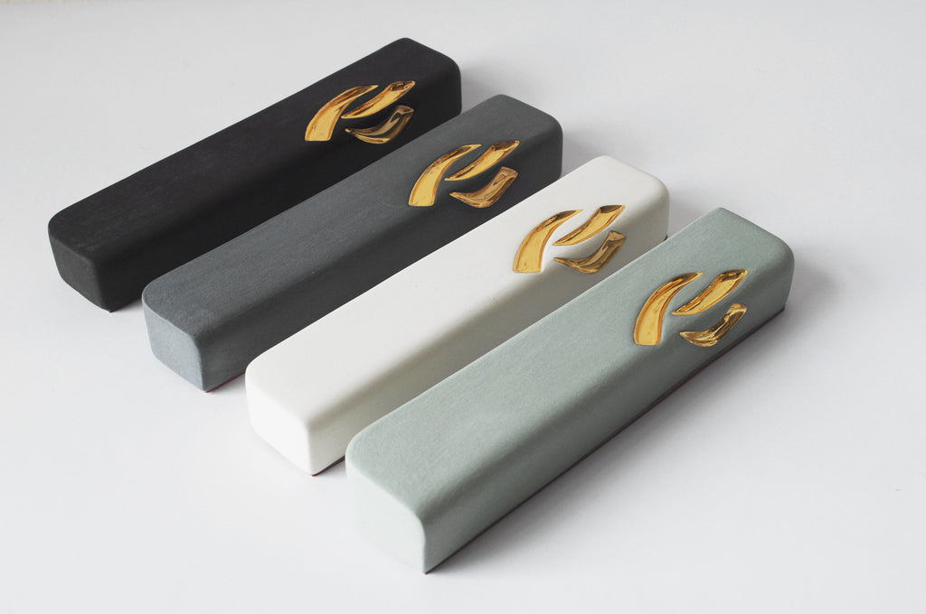 Ceramic Mezuzah with 24K Gold Shin