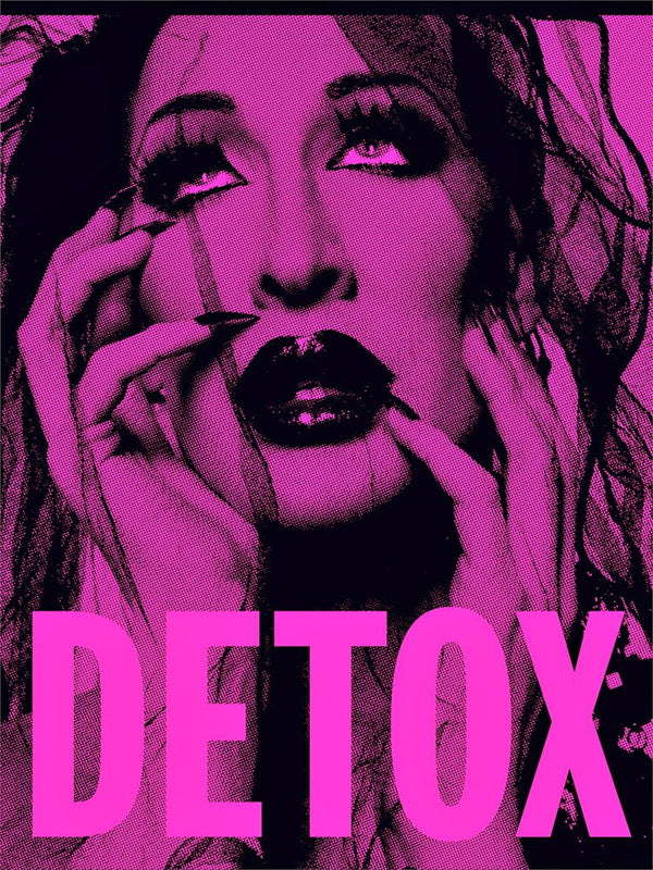 Pink detox poster with full beat face looking up