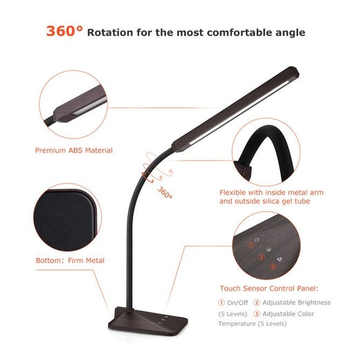 Mpow Eye Protection LED Desk Lamp Flexible 5-level