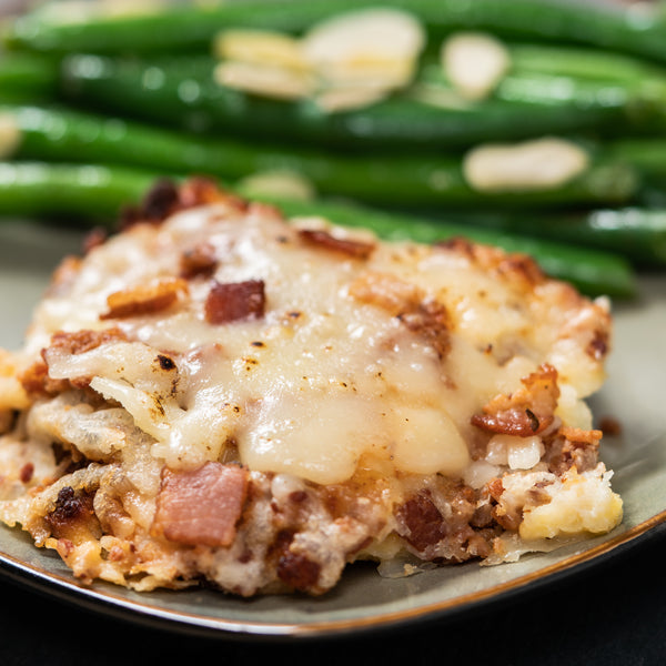 Plated Keto Asiago & Parmesan Crusted Chicken with Green Beans