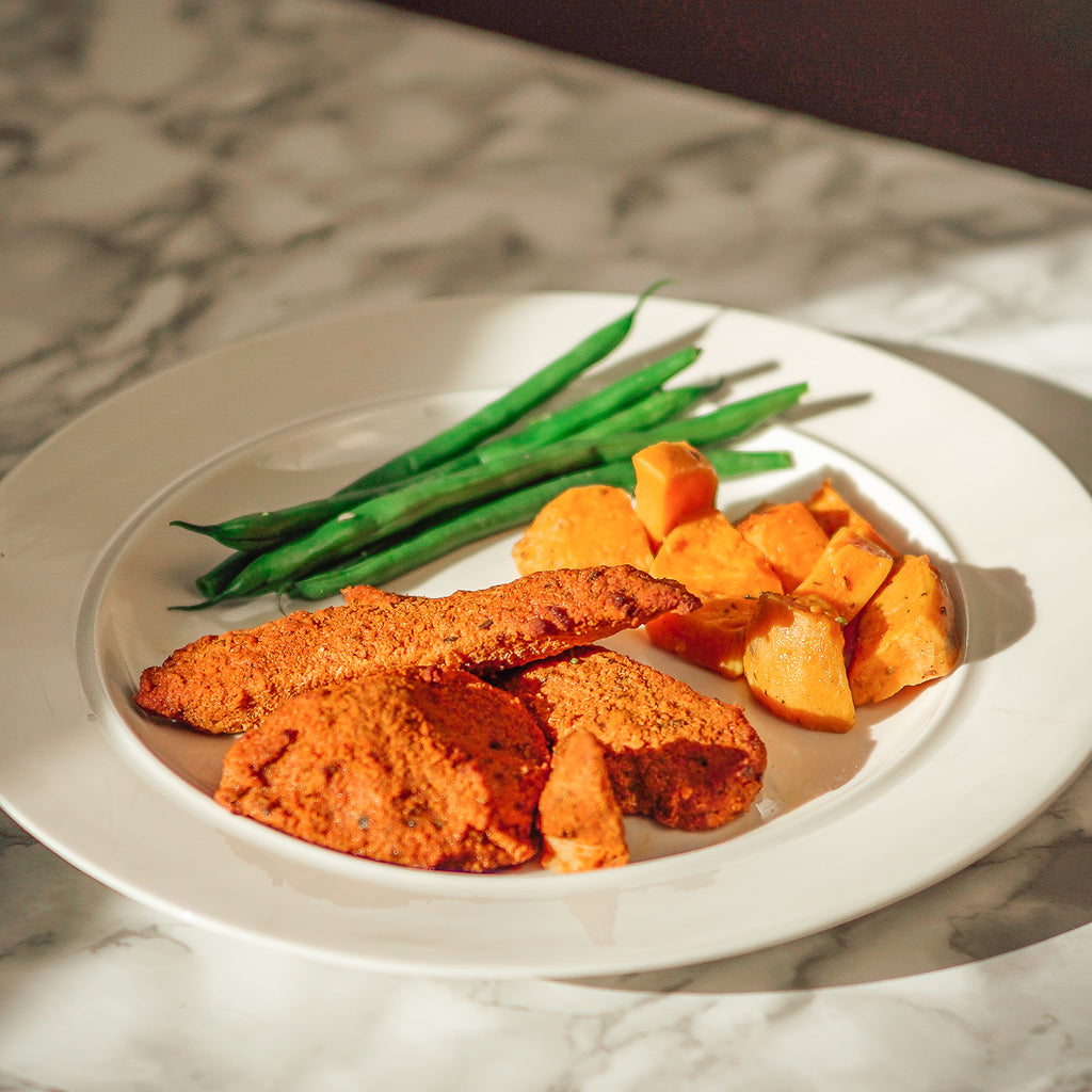 Low Carb Santa Fe with Roasted Sweet Potatoes & Green Beans