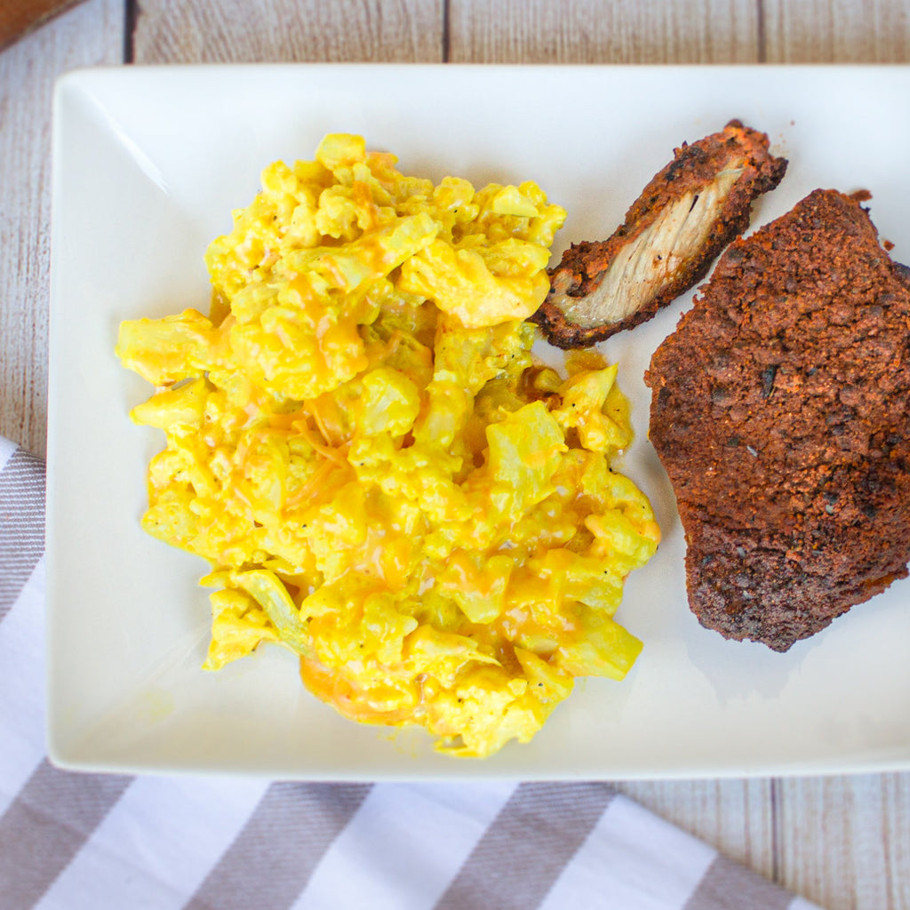 Buttermilk Fried Chicken with Cheesy Cauliflower Mac 'n Cheese