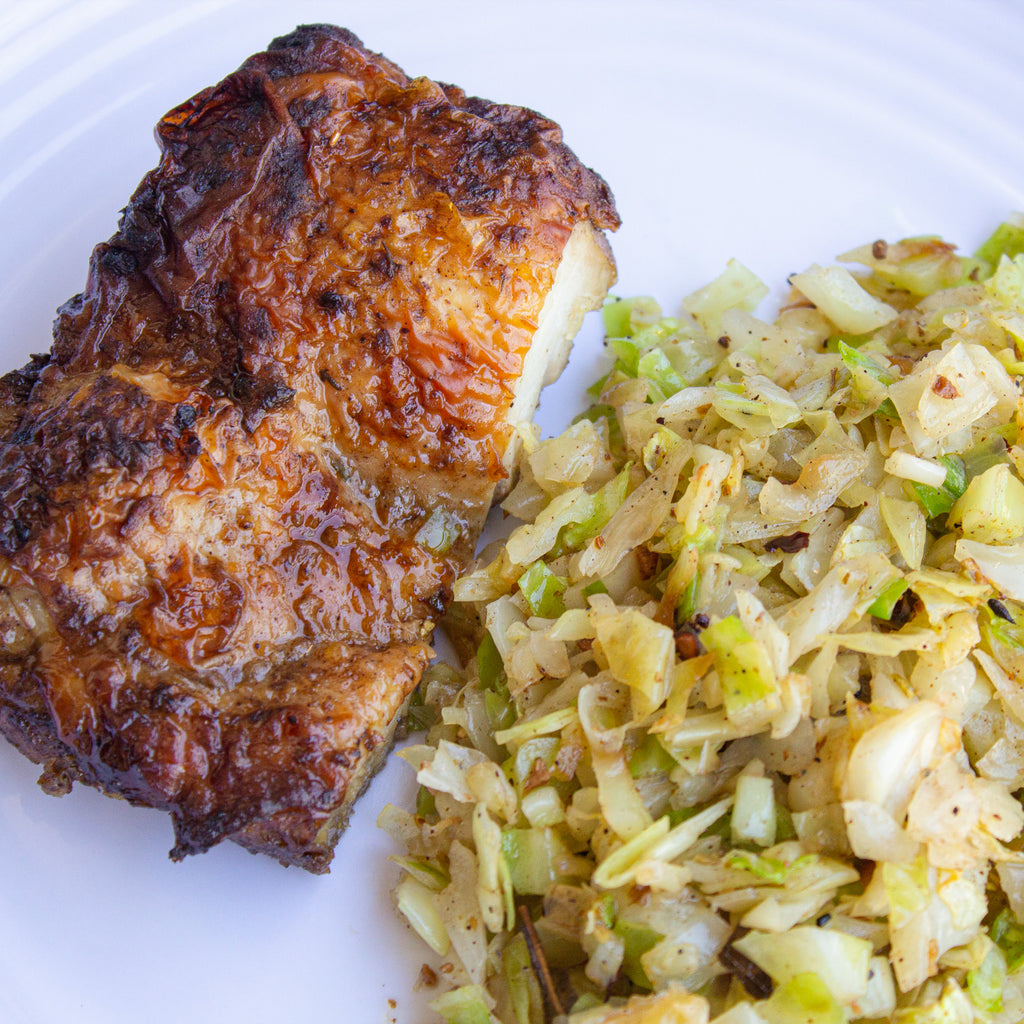 Jerk Chicken with Caribbean Cabbage, Dairy Free