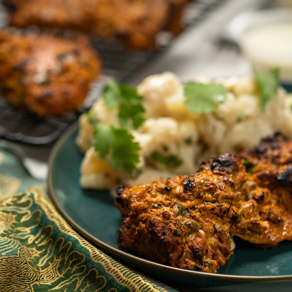 One serving keto tandoor chicken with creamy cauliflower